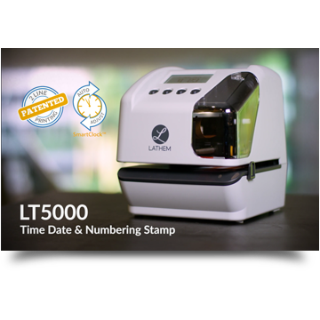 Lathem Announces the LT5000, the First and Only Electronic Document Stamp with Single Insertion Two-Line Patented Printing